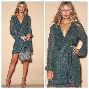 Lulu's Flirt About It Gold & Teal Blue Mini Dress